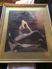 Old vintage erotic lady framed print