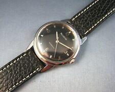 Vintage Bulova Clipper Stainless Steel Black Dial Mens Watch 17J 11AlAC 1966