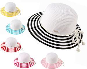 Kinder Strohhut Sommer Strandhut Mädchen Sonnenhut Schleife Party Urlaub H291