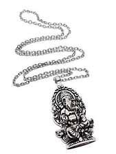 Ganesha Ganesh Elephant God Large Pendant Necklace Large Silver Tone Pendant
