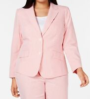 Anne Klein Womens Blazer Poppy Pink Size 14W Plus Seersucker Striped $139 250