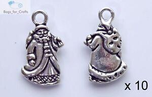 10 x Tibetan Silver Father Christmas Santa Xmas Charms Pendants 22mm (TC5 )