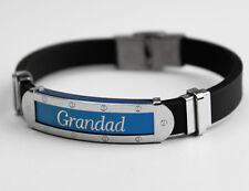 GRANDAD - Mens Silicone & Blue Name Plate Engraved Bracelet - Gifts For Him