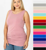 1X-3X Women's Ruched Sides Slimming Tank Top Stretch Knit Long Tunic Sleeveless