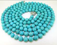 """50"""" Lariat Turquoise Necklace Round 8mm turquoise Gemstone Bead Necklace Fashion"""