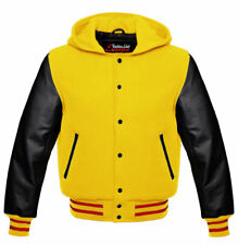 High College jacket baseball jacket HOODIE in wool with hood and cowhide sleeves