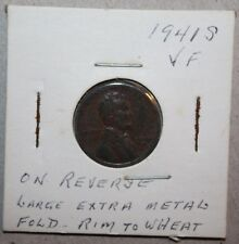 1941 S ERROR coin Lincoln wheat one CENT lamination foldover