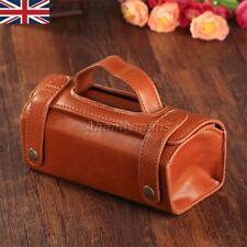 UK stock Men PU Leather Toiletry Cosmetic Bag Shaving Wash Organizer box Brown