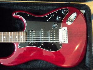 fender stratocaster Modern Player HSH Crimson transparent red