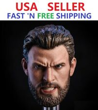 1/6 Chris Evans Captain America Avengers 3 Head Sculpt ANGRY VERSION for 12''