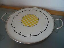 Tortenplatte Keramik mit Metallmontierung Art Deco mit Nummern