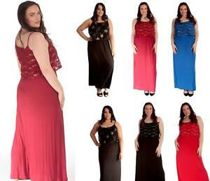 Womens Plus Size Maxi Dress Ladies Dress Summer Plain Fashion Party  Dress