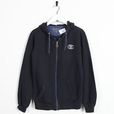 Vintage Women's CHAMPION Small Logo Zip Up Hoodie Sweatshirt Navy Blue Large L