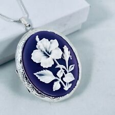 HIBISCUS FLOWER White / Purple CAMEO LOCKET NECKLACE 925 Silver plated Chain