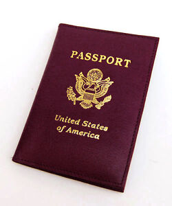 Red USA Leather Passport Cover Travel Leather Card Holder Wallet