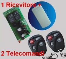 Ricevitore radio 2 Rele + 2 Trasmettitori E 433MHz telecomando cancelli serrande