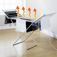 ELECTRIC HEATED FOLDING CLOTHES DRYING HORSE RACK AIRER DRYER DRY LAUNDRY