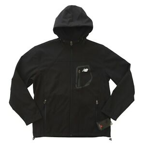 NEW BALANCE Soft Shell 4 Way Stretch Hooded Water-Resistant Jacket M/L Black NEW