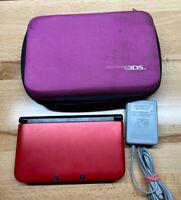 Nintendo 3DS XL Red Handheld System W/ Pink Case