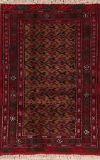 Traditional Geometric Balouch Afghan Area Rug Hand-Knotted Tribal Carpet 3'x4'