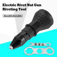 Electric Insert Rivet Nut Gun Adapter Cordless Riveting Power Drill Tool Kits ~