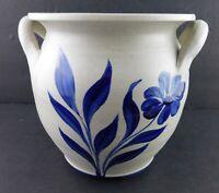 Williamsburg Pottery Handled Pot or Vase Stoneware Salt Glazed Blue Floral 1997