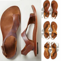 Women Ladies Cut Out Leather Sandals Footbed Beach Slippers Flip Flop Flat Shoes