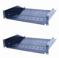 "2 Pack 19"" Vented Steel 2 Space 2U Rack Mount Cantilever Network Shelf 14"" Deep"