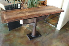 """58"""" Console table vintage iron base solid reclaimed old wood industrial design"""