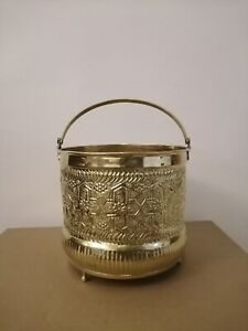 Bucket for Moroccan Bathroom Brass copper handmade authentic medium size Fez