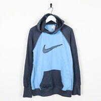 Vintage NIKE Therma-Fit Big Logo Polyester Hoodie Sweatshirt Blue | Large L
