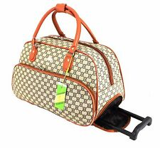 Ladies Designer Inspired Wheeled Travel Holdall Cabin Case Trolley Luggage Bag