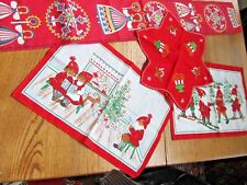 SCANDINAVIA VINTAGE CHRISTMAS LINEN 4 PC HOLIDAY SET-HTF!