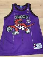 Vince Carter Raptors Champion Jersey Purple Pinstripe Mens Sz 40 M