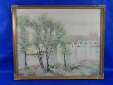 Original Bonn'e Oil on Canvas Painting Signed / River Sail Boat Waterview 32x26