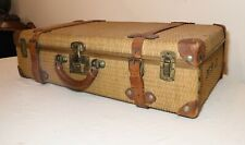 high quality antique 1800's hand wrapped wicker brass suitcase trunk luggage box