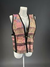 """Chinese Fabric """"Five Colors Earth"""" quilted vest With Embroidered Pattern -M"""