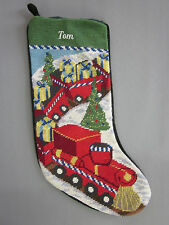 Lands End Needlepoint Christmas Stocking TOM Monogrammed Toy Train New
