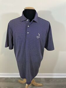 PETER MILLAR Pinehurst Striped Short Sleeve Polo Golf Shirt Large L