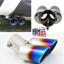 US Shipping 63mm Car Modified Blue Burnt Dual Pipe Tip Exhaust  Stainless Steel