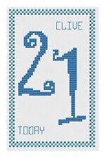 21st anniversaire bleu Kit de cartes de point de croix par florashell