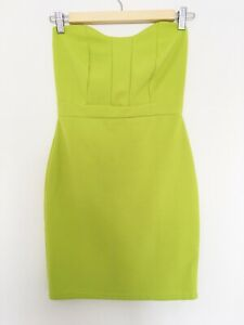 Missguided Womens 8 36 Dress Lime Green Bodycon Strapless Mini S M Tunic Top 10