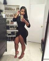 Women Long Sleeves Casual Club Party Asymmetrical Bodycon Black Mini Dress