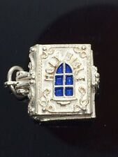 Vintage Sterling Silver Charm Nuvo Holy Bible opens Angel Baby Jesus