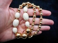 Authentic Vintage Napier Gold Tone Beads & Molded White Statement Necklace