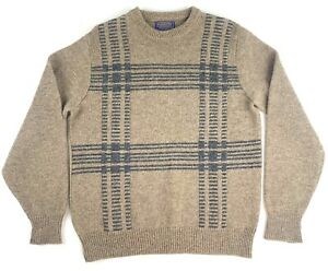 Vintage Pendleton Country Traditionals Mens Wool LS Crew Neck Sweater Beige M