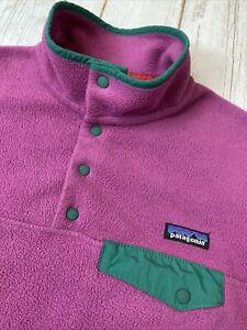 Vintage Patagonia Synchilla T Snap Fleece Women's Size M Mauve Pink Green Trim
