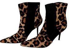 Dolce & Gabbana 38 8 Ankle Boots Leopard Animal Print Black  Booties Heel