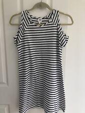 Seed Teen Size 12 Girls Cold Shoulder Black & White Stripe Dress Casual Spring