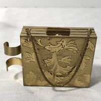 Vintage Evening Bag Purse Vanity Cigarette Compact Carryall Gold Brass